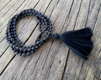 Mala Necklace, Lava Knotted Mala Tassel Necklace, Black Lava Mala Beads Long Tassel Necklace, Yoga Meditation Beads, Santorini Mala Necklace