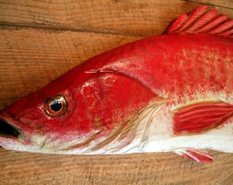 """Red Snapper with open mouth 34"""" chainsaw wood taxidermy carving saltwater sport fish sculpture woodworking nautical original wall art"""