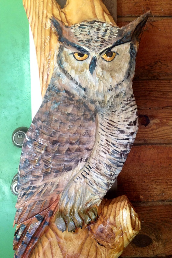 "Great Horned Owl perched in Tree 56"" chainsaw carving detailed wild bird wall mount original wooden owl nature lover's home art"