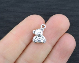 6 Teddy Bear Charms Antique Silver Tone 2 Sided - SC2547