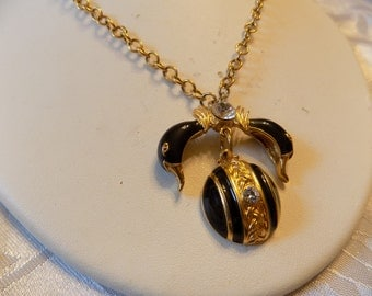 Vintage pendant necklace, enameled and crystal geese and ball pendant, statement jewelry, 31 inch chain