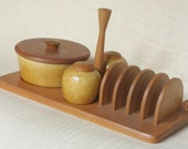 Vintage Swedish Jie Gantofta Cruet Set Breakfast Teak