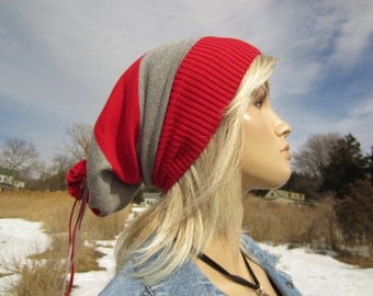 Wide Stripe Slouchy Beanie Hat Red Gray Cotton Knit Baggy Tam A1338