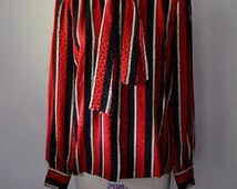 Vintage Womens Designer Andre Laug 1980s Silk Blouse Red White and Black Silk Jacquard Stripe Blouse Couture Quality Size Medium
