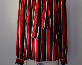 Vintage Andre Laug 1980s Silk Blouse Red and Black Stripe Silk Jacquard Blouse Couture Quality Size Medium
