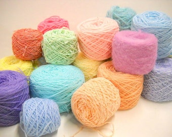 Mystery Yarn, Mixed Lot Spring Pastels, Easter Egg Colors, Vintage Yarn, Knitting Supplies, Crochet,