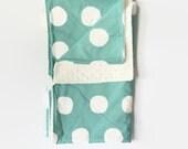 Large Aqua Dot Toddler Blanket - Oversized Baby Blanket - Aqua and White Dot Blanket - Minky Blanket