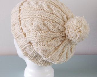 Cream Beanie Hat - Off White Slouchy Knitted Cable Merino Wool Hat Unisex Winter Accessory Gift for Him Gift for Her by Emma Dickie Design