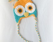 Crochet Baby Owl Earflap Hat - Newborn to 10 years - Blue Mint and Mango - MADE TO ORDER