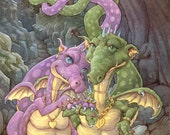 Rich in Love Dragon Couple 8.5x11 Signed Print with original doodle