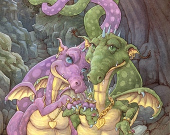 Rich in Love Dragon Couple 8.5x11 Signed Print with special gift