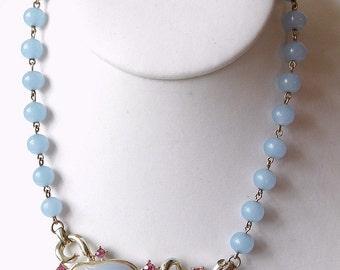 50s Vintage Thermoplastic & Rhinestone Necklace
