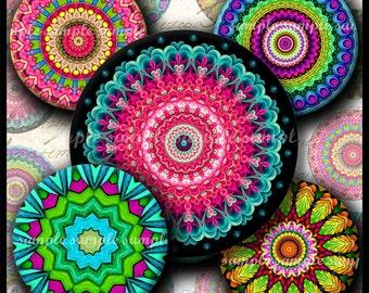 INSTANT DOWNLOAD Colorful Mandalas (675) 4x6 Bottle Cap Images Digital Collage Sheet for bottlecaps glass tiles hair bows bottlecap images
