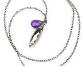 Pyrite Necklace, Purple Amethyst & Faceted Pyrite Dagger Pendant Necklace, Oxidized Silver Pyrite Necklace