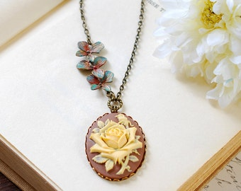 mothers day gift Cameo Necklace, Ivory Rose Cameo Necklace, Brown Blue Verdigris Patina Orchids Necklace, Gift for her, mothers day gift