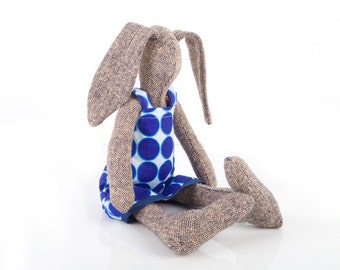 SALE ** Plush rabbit  hare doll made from knitted pure silk ,softie bunny in retro navy circles dress with dots, handmade fabric eco doll