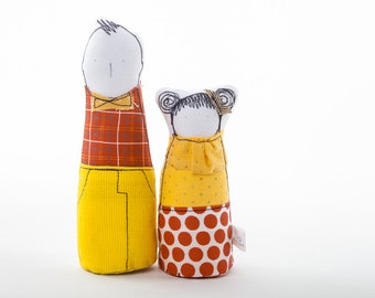 Big brother and little sister ,  family dolls, two children fabric dolls in retro red and  yellow plaid dotted clothes,  handmade eco dolls
