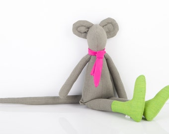 Autumn stuffed minimalist olive gray mouse doll wears green socks and neon pink fuchsia tie - handmade eco fabric doll Gift for boy or girl
