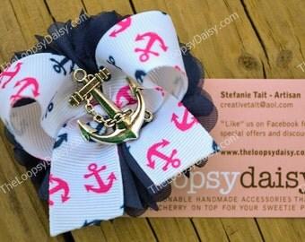 Anchors Away Hair Clip, Nautical bow, Nautical baby, Summer Bow, Summer Dress, Nautical Birthday, Anchor shirt, Hot pink and navy, hair bows