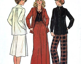 Simplicity 7756 Vintage 70s Misses' Skirt, Jacket and Pants Sewing Pattern - Uncut - Size 12 - Bust 34