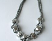 Rope Necklace - Statement Necklace -  in silver    E188