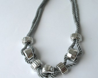 CLEARANCE SALE - Rope Necklace - Statement Necklace -  in silver    E188