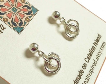 Simple Sterling Silver Small Ball Post Earrings With Silver Rings