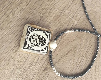 "Initial Letter ""Q"" Monogram Glass Tile Pendant With Dark Gray Black and Silver Beads Necklace"