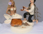 Mermaid and Prince Wedding Cake Topper CUSTOMIZED to your features Hand Sculpted in Clay