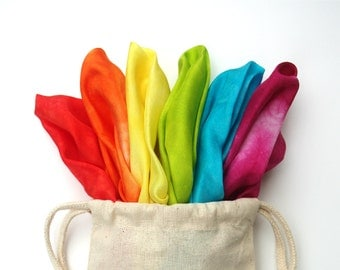 "Waldorf Play Silks, Set of Six Rainbow Swirl Playsilks 11"" x 11 inch"