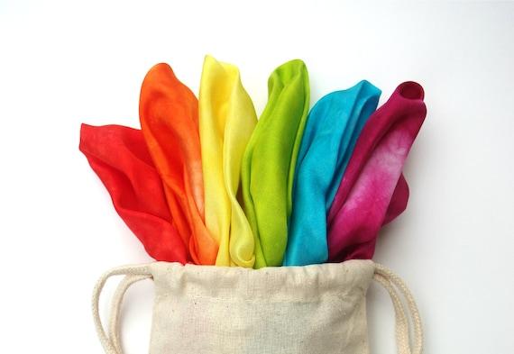 "Waldorf Play Silks, Set of Six Rainbow Swirl Playsilks 11"" x 11 inch"