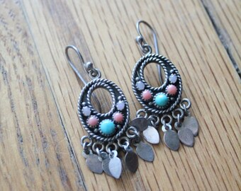 Vintage 80's Handmade Sterling Silver Dangle Turquoise, Coral and Rose Quartz Hoop Earrings