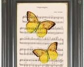 Yellow butterfly wall artprint on music or dictionary pg COUPON SALE Dictionary art print Wall decor Sheet music Digital art print No 730