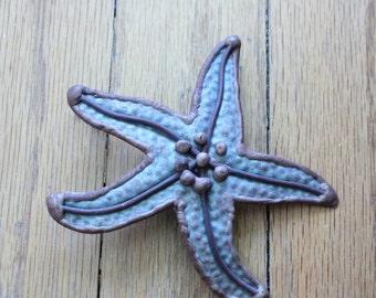 Vintage 80's Handmade Tin and Brass Patina Starfish Pendant/Brooch