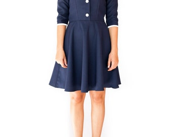 Mod sailor navy white 50s dress white collar 60s retro dress - custom made