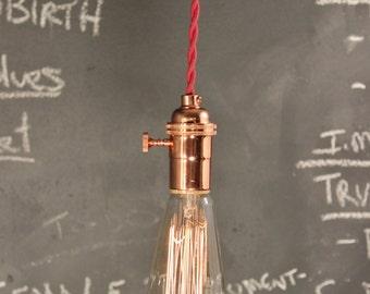 Industrial Lighting - Vintage Pendant Lamp - Copper Pendant Light - Minimalist Swag - Cafe Lighting - Steampunk Light - Antique Hanging Lamp