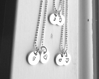 Tiny Initial Necklace with Heart Charm, Sterling Silver, Initial Heart Necklace, Hand Stamped Jewelry, Charm Necklace, Monogram Necklace