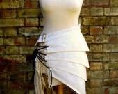 Post apocalyptic asymmetric over skirt clothing antiqued white sizes Small to XXL