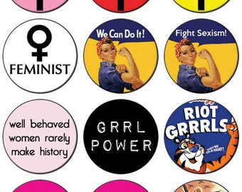 Feminist Button Badge 25mm / 1 inch Feminism Riot Grrl Girl Power Grunge