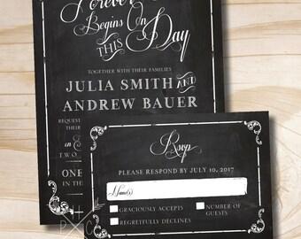 VINTAGE BLACKBOARD Chalkboard Poster Wedding Invitation/Response Card Invitation Suite