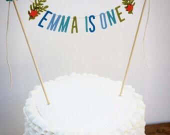 Birthday Cake Banner, Birthday Cake Topper, Ocean Cake Banner,Smash Cake Banner, Personalized Cake Garland: Ocean Cake Topper