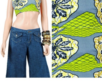 Crop Top - Midriff Crop Top - African Print Top - M - Medium