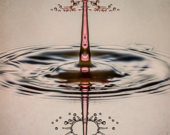 """Macro Photography Water Drop Liquid Art Colliding Drops """"Queen of the Dance"""""""