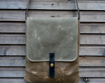 Waxed canvas messenger bag / Ipad bag / day bag with waxed canvas strap,COLLECTION UNISEX