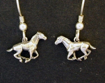 Sterling Silver Tiny Horse Earrings on Sterling Silver French Wires