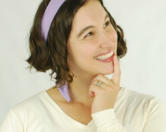 Hair Scarf - Headband - Purple Lavender  - Rockabilly - Retro -  Hemp Organic Cotton Jersey - Organic Clothing