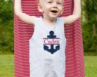 Baby Boys Nautical Blue Seersucker Jon Jon, Personalized Anchor Applique Jon Jon