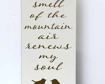 Mountain Air Wood Sign, Cabin Decor, Mountain, Rustic Wood Sign, Woodsy, Outdoors, Wood Sign, Cabin, Gift for Christmas, Typography Art
