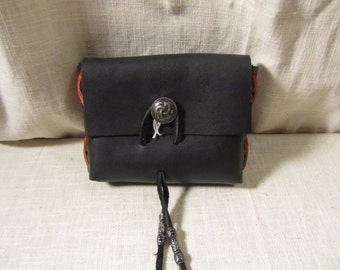 Customizable Medieval Belt Bag, Metal Button, Belt Pouch Small, Leather Bag, LARP, SCA, Costume, Ren Faire