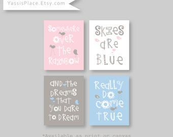 Somewhere Over The Rainbow Girl and Boy Twins Nursery Art Prints Pink Blue and Grey Nursery Decor by YassisPlace